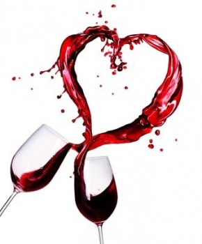 red wine making a heart from glasses